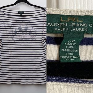(L) LRL White Navy Knit Striped Top